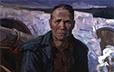 Yusov, Fedir. Portrait of Top Worker, Construction of the Dnipro-Donbas Channel, V. Piskunov. 1977. Oil on canvas. 110 x 87 cm. .